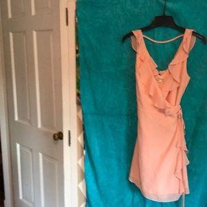 Peach dress with ruffles